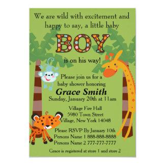 """La fiesta de bienvenida al bebé de la selva invita invitación 5"""" x 7"""""""