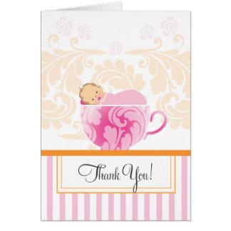 La fiesta de bienvenida al bebé de la taza de té tarjeta pequeña