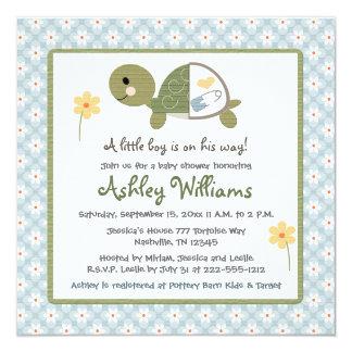 La fiesta de bienvenida al bebé de la tortuga invitación 13,3 cm x 13,3cm