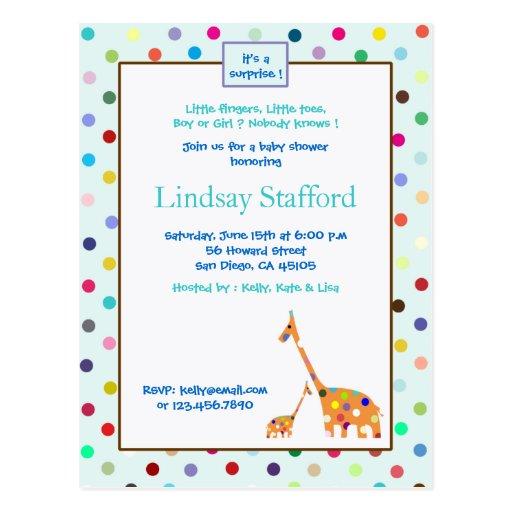 La fiesta de bienvenida al bebé de las jirafas de postales