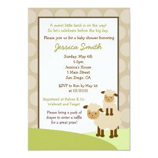 """La fiesta de bienvenida al bebé de las ovejas del invitación 5"""" x 7"""""""