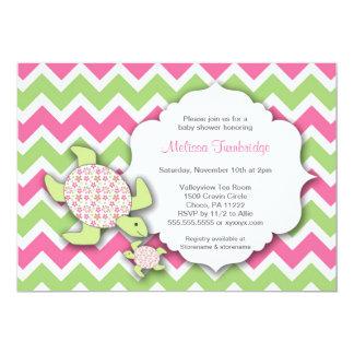 """La fiesta de bienvenida al bebé de las tortugas de invitación 5"""" x 7"""""""