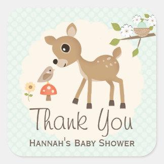La fiesta de bienvenida al bebé de los ciervos del calcomanías cuadradas personalizadas