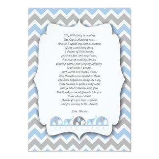 """La fiesta de bienvenida al bebé de los elefantes invitación 5"""" x 7"""""""