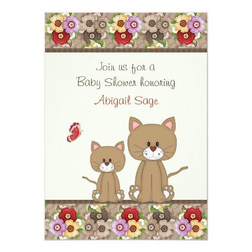 La fiesta de bienvenida al bebé de los gatos y de invitación 12,7 x 17,8 cm