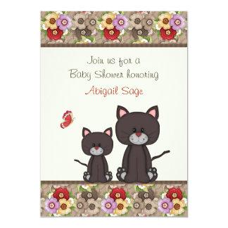 """La fiesta de bienvenida al bebé de los gatos y de invitación 5"""" x 7"""""""