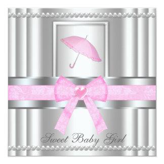 """La fiesta de bienvenida al bebé de plata y rosada invitación 5.25"""" x 5.25"""""""