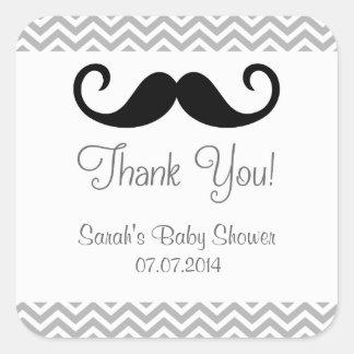 La fiesta de bienvenida al bebé del bigote le calcomania cuadradas