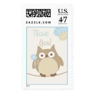 La fiesta de bienvenida al bebé del búho de los sello postal