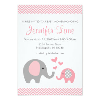 """La fiesta de bienvenida al bebé del elefante invitación 5"""" x 7"""""""