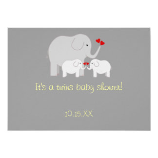 """La fiesta de bienvenida al bebé del elefante invitación 4.5"""" x 6.25"""""""