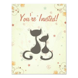 """La fiesta de bienvenida al bebé del gato y del invitación 4.25"""" x 5.5"""""""
