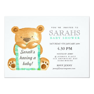 """La fiesta de bienvenida al bebé del oso de peluche invitación 4.5"""" x 6.25"""""""