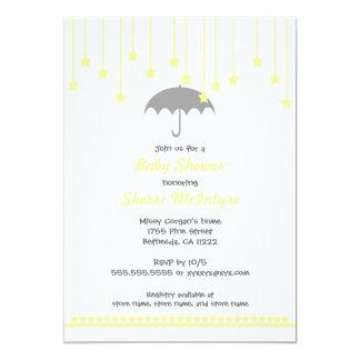 """La fiesta de bienvenida al bebé del paraguas invitación 5"""" x 7"""""""