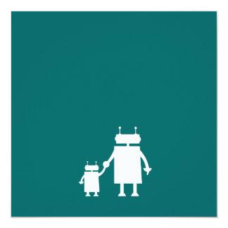 """La fiesta de bienvenida al bebé del robot invita invitación 5.25"""" x 5.25"""""""