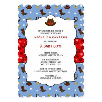 """La fiesta de bienvenida al bebé del vaquero invita invitación 5"""" x 7"""""""