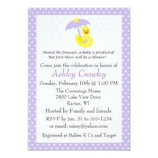 """La fiesta de bienvenida al bebé Ducky de goma Invitación 5"""" X 7"""""""