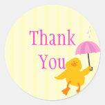 La fiesta de bienvenida al bebé Ducky le agradece Pegatina Redonda