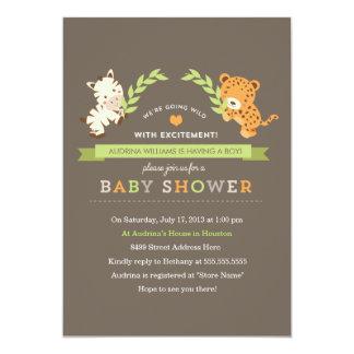 """La fiesta de bienvenida al bebé dulce del safari invitación 5"""" x 7"""""""