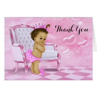 La fiesta de bienvenida al bebé étnica le agradece tarjeta pequeña