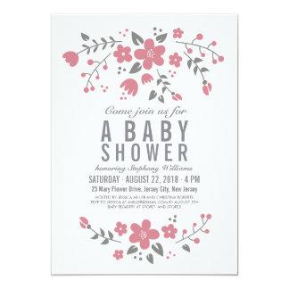 La fiesta de bienvenida al bebé floral bonita invitación 12,7 x 17,8 cm