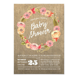 """La fiesta de bienvenida al bebé floral de la invitación 5"""" x 7"""""""