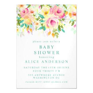La fiesta de bienvenida al bebé floral de la invitaciones magnéticas