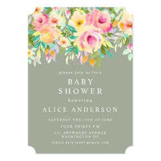 """La fiesta de bienvenida al bebé floral del jardín invitación 5"""" x 7"""""""