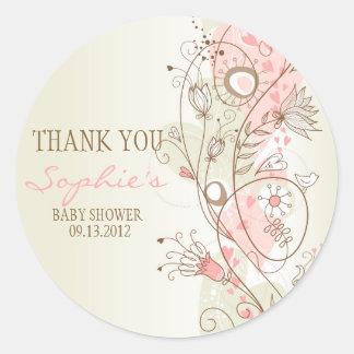 La fiesta de bienvenida al bebé floral del vintage pegatina redonda
