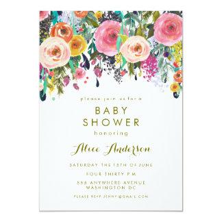 """La fiesta de bienvenida al bebé floral pintada del invitación 5"""" x 7"""""""