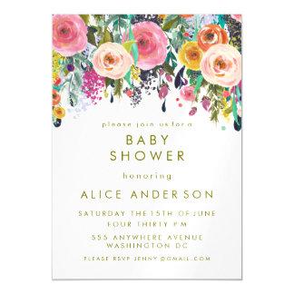 La fiesta de bienvenida al bebé floral pintada el invitaciones magnéticas