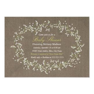 La fiesta de bienvenida al bebé floral rústica de invitación 12,7 x 17,8 cm
