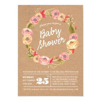 """La fiesta de bienvenida al bebé floral rústica de invitación 5"""" x 7"""""""