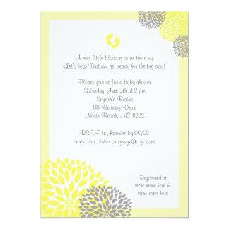 """La fiesta de bienvenida al bebé gris amarilla de invitación 5"""" x 7"""""""