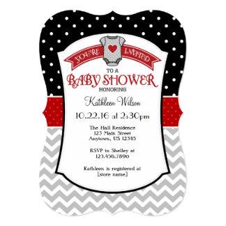 """La fiesta de bienvenida al bebé gris roja negra de invitación 5"""" x 7"""""""