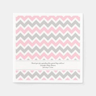 La fiesta de bienvenida al bebé gris rosada de servilleta de papel