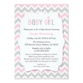 """La fiesta de bienvenida al bebé gris rosada del invitación 5"""" x 7"""""""