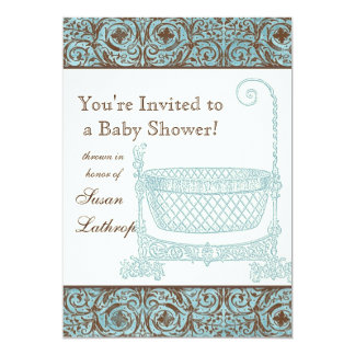 La fiesta de bienvenida al bebé invita - a la cuna invitación 12,7 x 17,8 cm