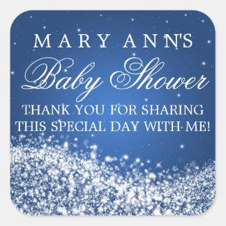 La fiesta de bienvenida al bebé le agradece azul calcomania cuadradas