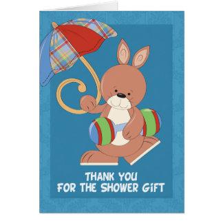 La fiesta de bienvenida al bebé le agradece observ tarjeta de felicitación