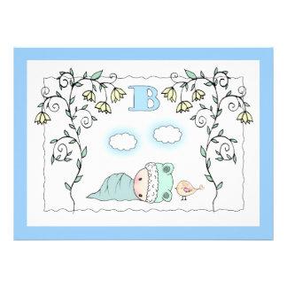 La fiesta de bienvenida al bebé linda del muchacho invitaciones personalizada
