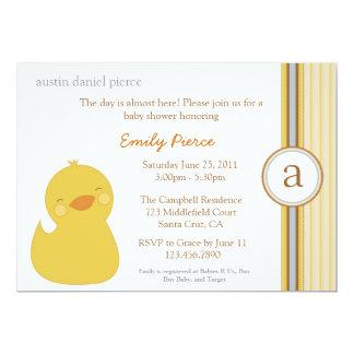 La fiesta de bienvenida al bebé linda del pato del invitación personalizada