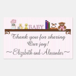 La fiesta de bienvenida al bebé linda le agradece pegatina rectangular