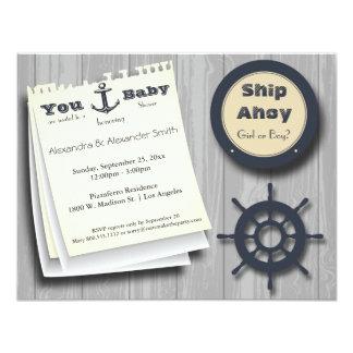 La fiesta de bienvenida al bebé náutica del chica invitación 10,8 x 13,9 cm