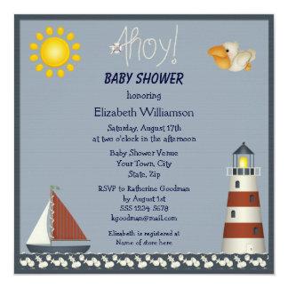 La fiesta de bienvenida al bebé náutica del faro y invitación 13,3 cm x 13,3cm