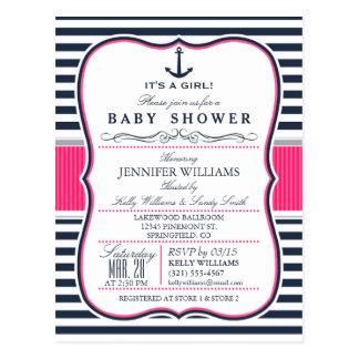 La fiesta de bienvenida al bebé náutica elegante postales