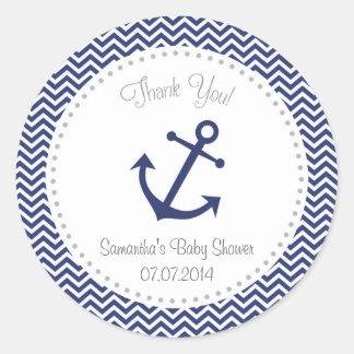 La fiesta de bienvenida al bebé náutica le pegatina redonda