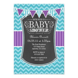 """La fiesta de bienvenida al bebé púrpura de Chevron Invitación 5"""" X 7"""""""