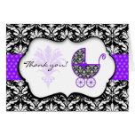 La fiesta de bienvenida al bebé púrpura elegante d tarjeta pequeña