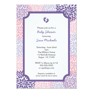 """La fiesta de bienvenida al bebé púrpura rosada del invitación 5"""" x 7"""""""